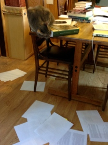 An additional trick--he also pulls bookmarks out of my books.