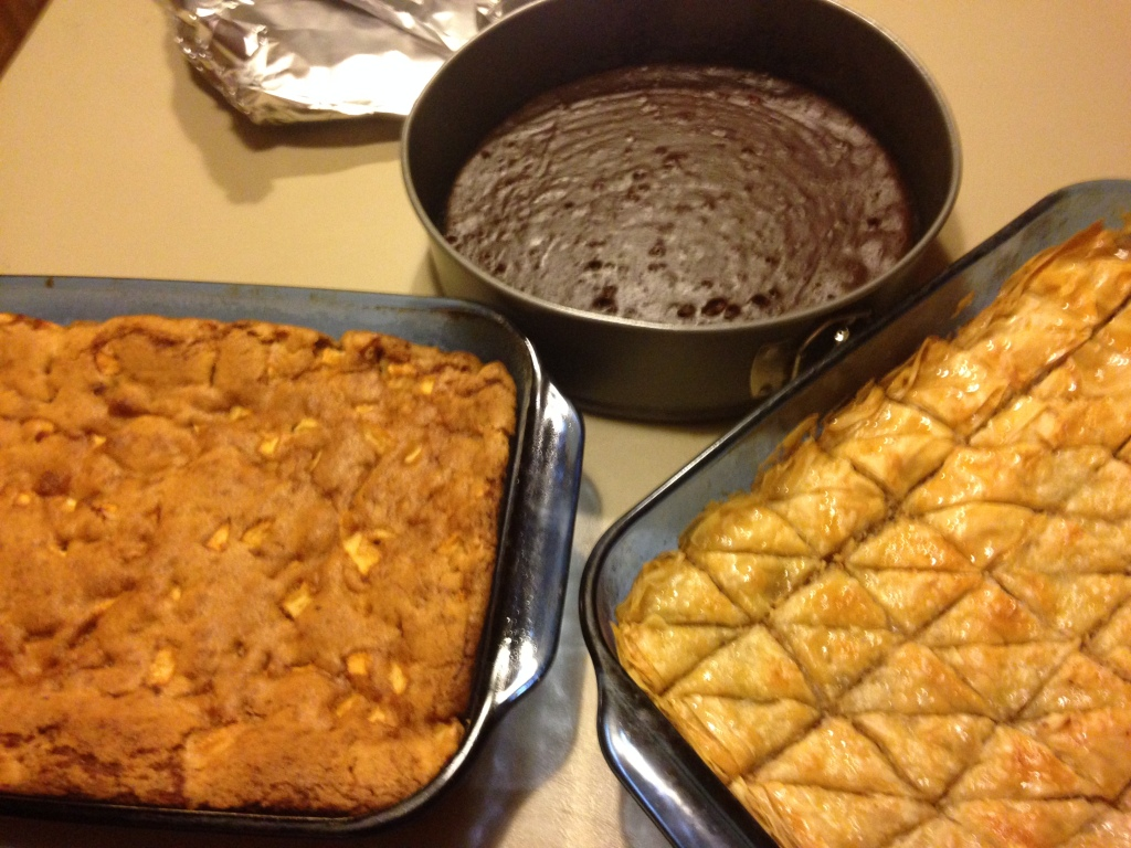 Apple Cake, Flourless Chocolate Cake, Baklava--Early Celebration requires extra desserts to ensure sweetness for the year! ;)