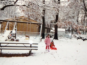 My daughters playing in the snow many years ago.