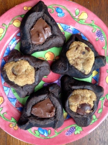 Chocolate Hamantaschen with Chocolate chip filling and Nutella filling
