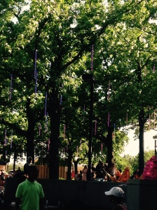 These ornaments hanging from the trees change color. Spruce Street Harbor Park
