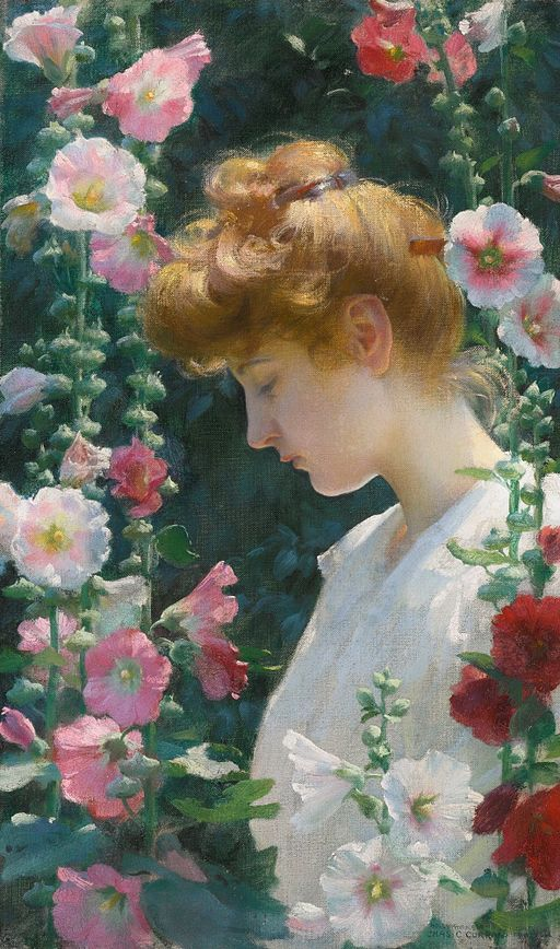 'Hollyhocks_and_Sunlight'_by_Charles_Courtney_Curran,_1902