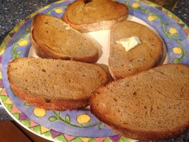 Homemade artisan bread, toasted