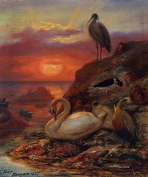 Frants_Bøe_-_Birds_in_the_midnight_sun,_1857