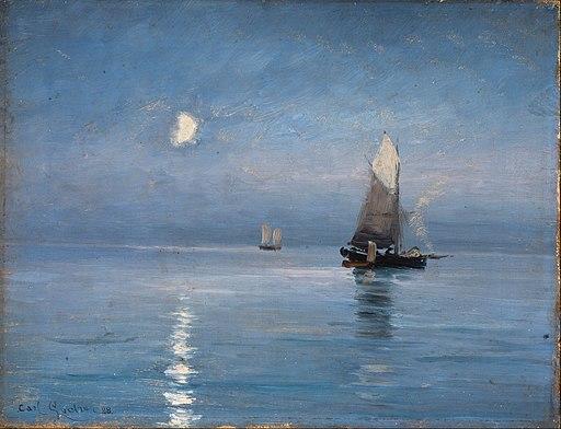 Carl_Locher_-_Fishing_cutters_in_the_moonlit_night_-_Google_Art_Project