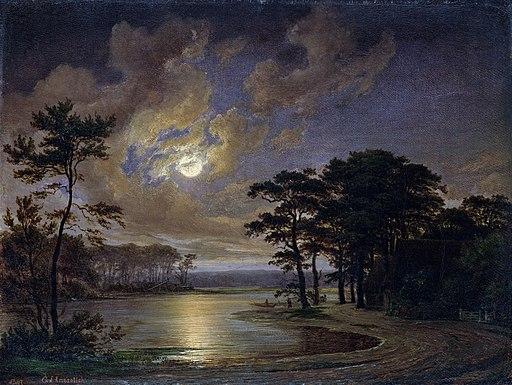 Johann_Georg_Haeselich_-_Holsteinischer_See,_Mondschein_(1847)