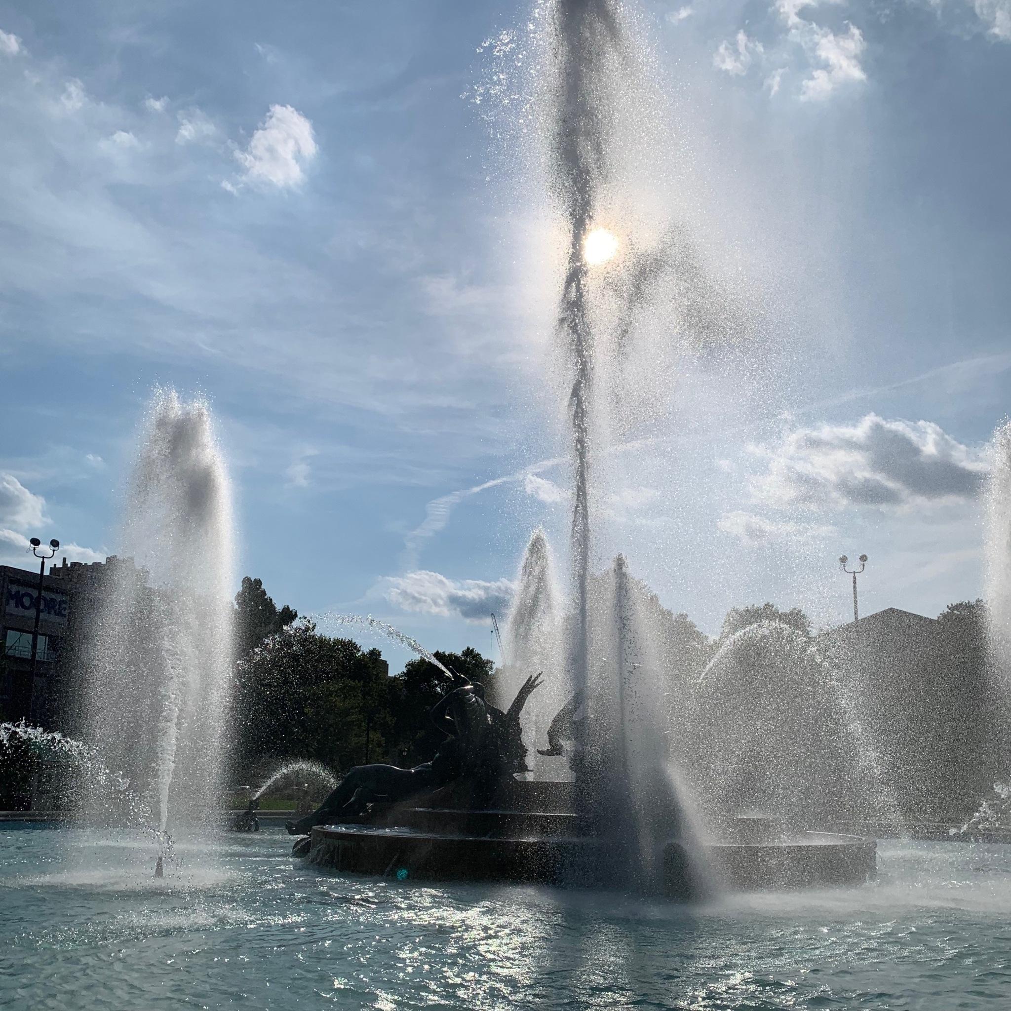 Swann Memorial Fountain Glittering in the Sun, Philadelphia