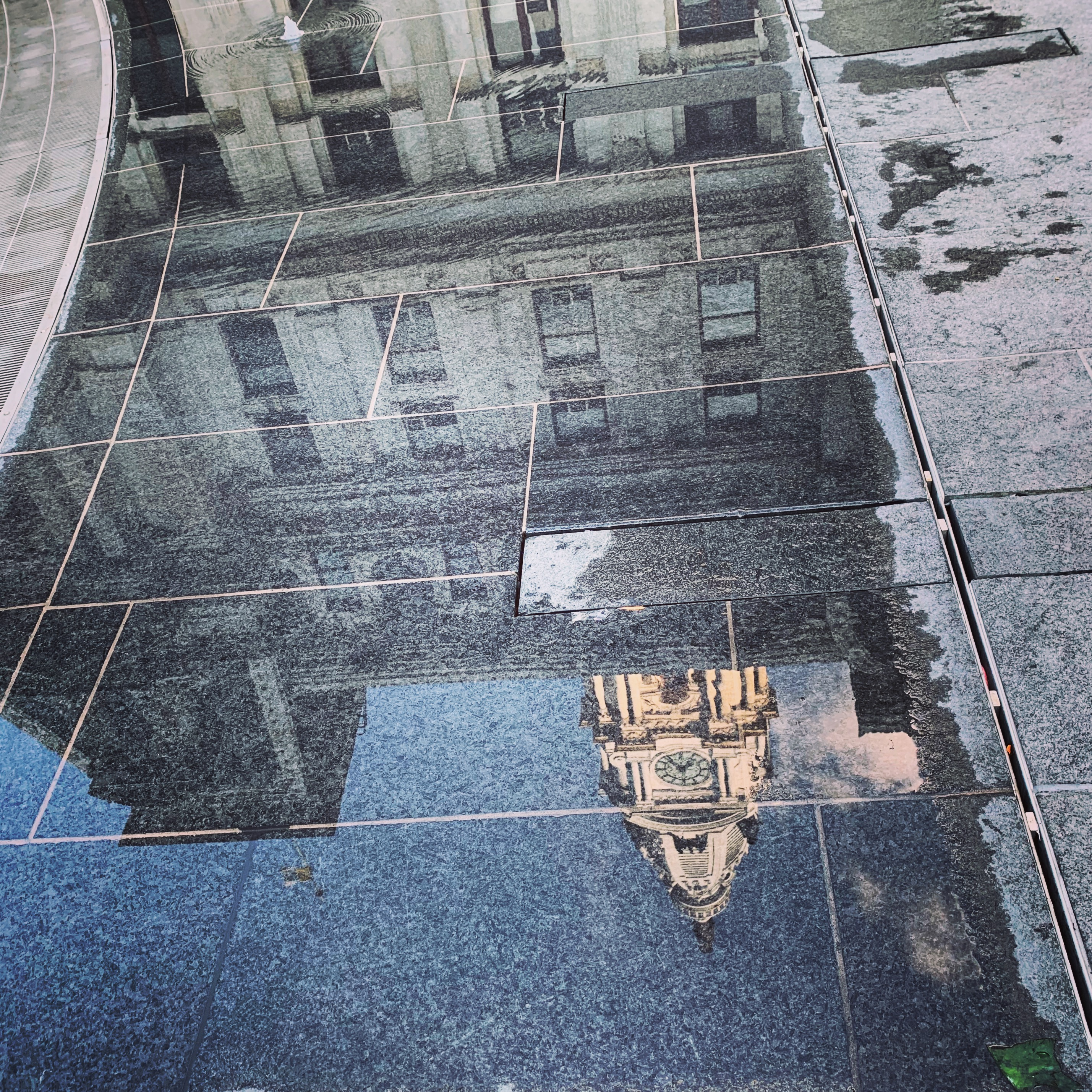 City Hall Reflected in a puddle, Merril D. Smith, Philadelphia 2019