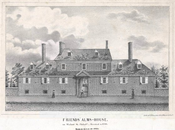 Friends' Alms-House. on Walnut St. Philada. -- Erected in 1745. Taken down in 1841. [graphic].