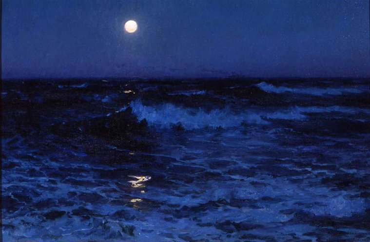 'Moon_Path,_Freighter_in_Distance'_by_Lionel_Walden