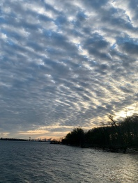 Delaware River at sunrise, April 2020. West Deptford, NJ